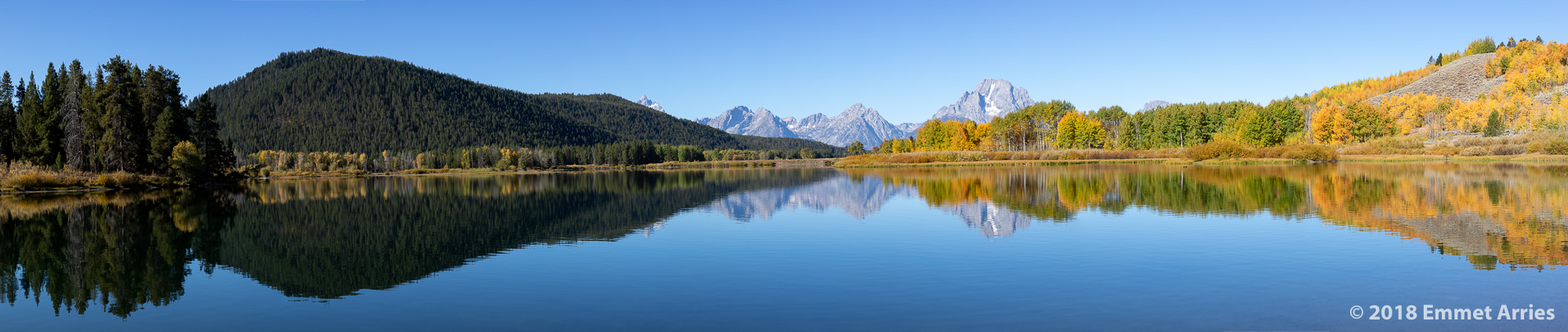 In the fall, the trees at Oxbow bend turn brilliant reds, yellows, and oranges. It is truly magnificent. I love panoramas because they give us a more realistic view of a landscape.